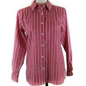 Foxcroft Top 2P Red White Stripe Long Sleeve